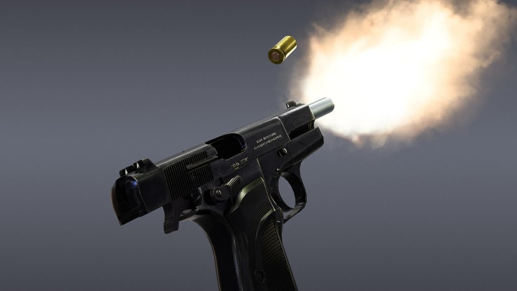 Marmoset render of Browning Hi Power Mark 3 Model Firing with empty case ejecting from side of weapon.