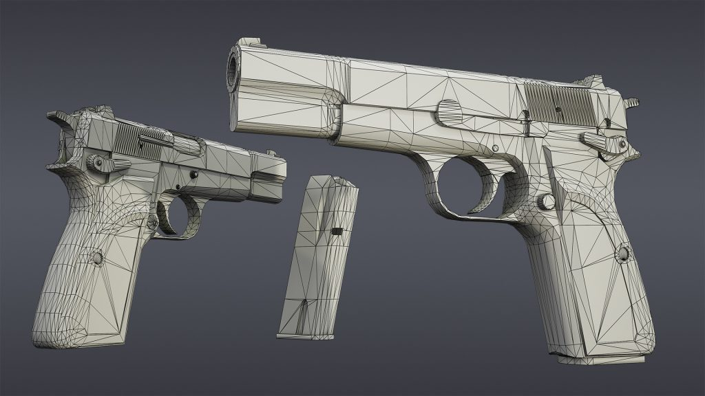 Wireframe render of Browning Hi Power Mark III model
