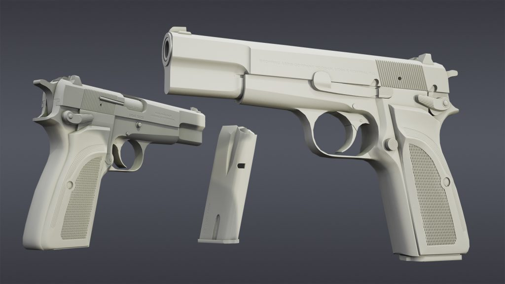 Low poly + Normal Map render of Browning Hi Power Mark III model