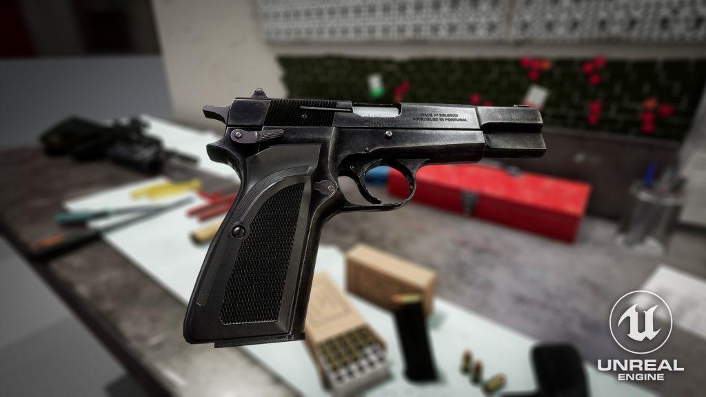 Unreal Engine screenshot of Browning Hi Power Mark III model
