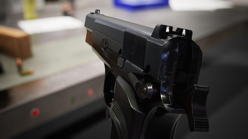 Close up render of Browning Hi Power Mark III model