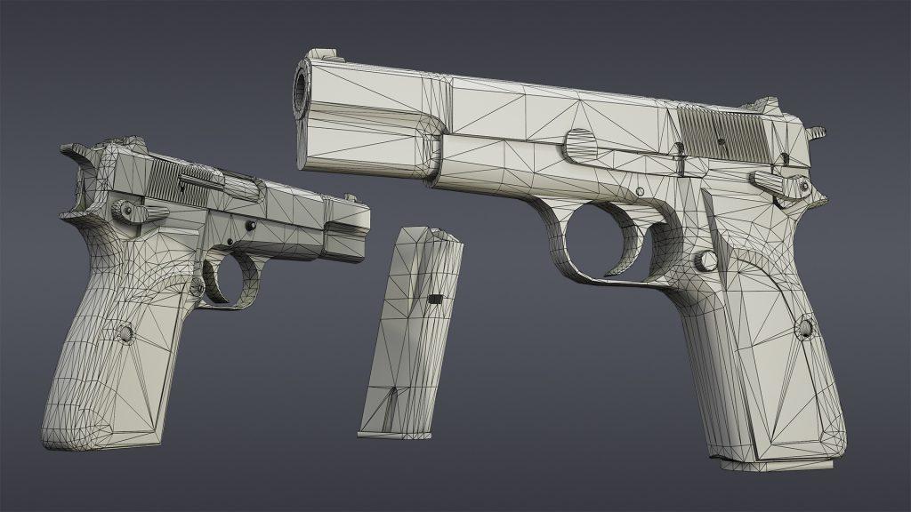 Wireframe render of Browning Hi Power Mark III model