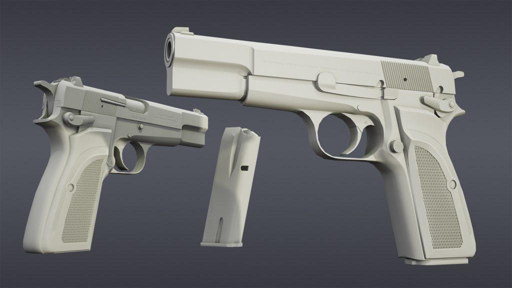 Low poly + Normal Map render of Browning Hi Power Mark III model