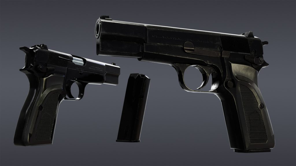 Textured render of Browning Hi Power Mark III model